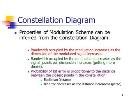 1 Constellation Diagram Properties of Modulation Scheme can be inferred from the Constellation Diagram: Bandwidth occupied by the modulation increases.