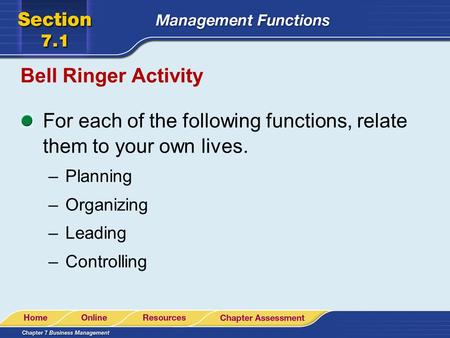 Bell Ringer Activity For each of the following functions, relate them to your own lives. –Planning –Organizing –Leading –Controlling.