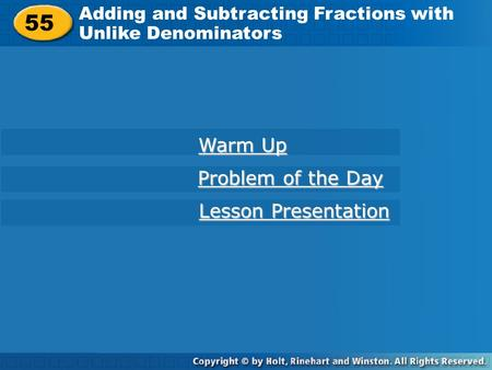 55 Warm Up Problem of the Day Lesson Presentation