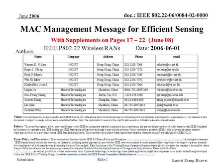 Doc.: IEEE 802.22-06/0084-02-0000 Submission June 2006 Jianwei Zhang, Huawei Slide 1 MAC Management Message for Efficient Sensing With Supplements on Pages.