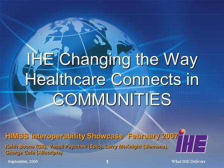 September, 2005What IHE Delivers 1 IHE Changing the Way Healthcare Connects in COMMUNITIES HIMSS Interoperability Showcase February 2007 Keith Boone (GE),