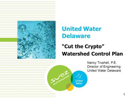 "1 United Water Delaware ""Cut the Crypto"" Watershed Control Plan 1 Nancy Trushell, P.E. Director of Engineering United Water Delaware."