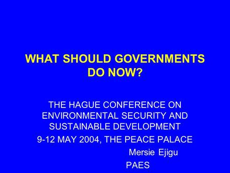 THE HAGUE CONFERENCE ON ENVIRONMENTAL SECURITY AND SUSTAINABLE DEVELOPMENT 9-12 MAY 2004, THE PEACE PALACE Mersie Ejigu PAES WHAT SHOULD GOVERNMENTS DO.