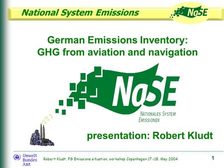 National System Emissions 1 Robert Kludt, FG Emissions situation, workshop Copenhagen 17.-18. May 2004 German Emissions Inventory: GHG from aviation and.