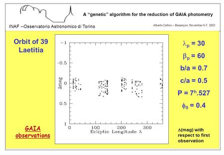 "Alberto Cellino – Besançon, November 6-7, 2003 INAF --Osservatorio Astronomico di Torino A ""genetic"" algorithm for the reduction of GAIA photometry p ="