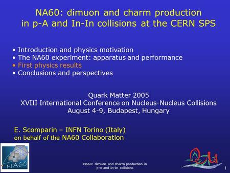 NA60: dimuon and charm production in p-A and In-In collisions 1 NA60: dimuon and charm production in p-A and In-In collisions at the CERN SPS Introduction.