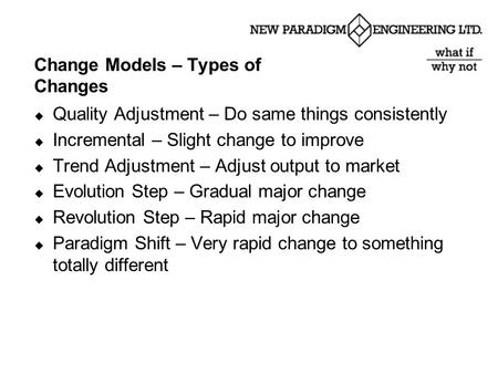 Change Models – Types of Changes  Quality Adjustment – Do same things consistently  Incremental – Slight change to improve  Trend Adjustment – Adjust.