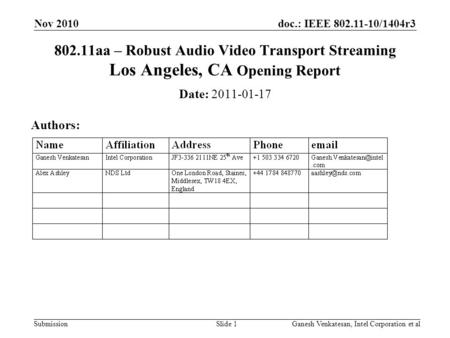 Doc.: IEEE 802.11-10/1404r3 Submission 802.11aa – Robust Audio Video Transport Streaming Los Angeles, CA Opening Report Date: 2011-01-17 Authors: Nov 2010.