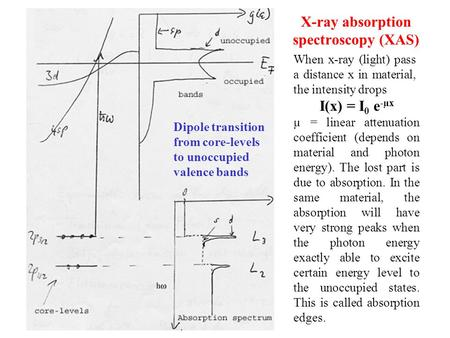 X-ray absorption spectroscopy (XAS) I(x) = I 0 e -µx µ = linear attenuation coefficient (depends on material and photon energy). The lost part is due to.