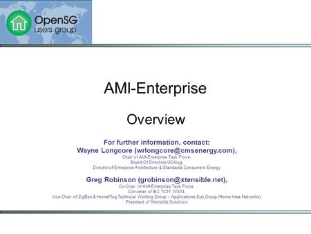 Overview AMI-Enterprise For further information, contact: Wayne Longcore Chair of AMI-Enterprise Task Force, Board Of Directors.