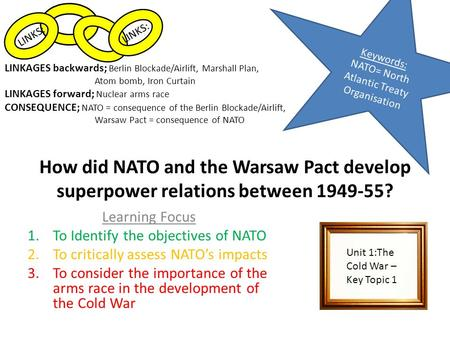 How did NATO and the Warsaw Pact develop superpower relations between 1949-55? Learning Focus 1.To Identify the objectives of NATO 2.To critically assess.
