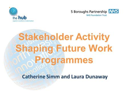 Stakeholder Activity Shaping Future Work Programmes Catherine Simm and Laura Dunaway.