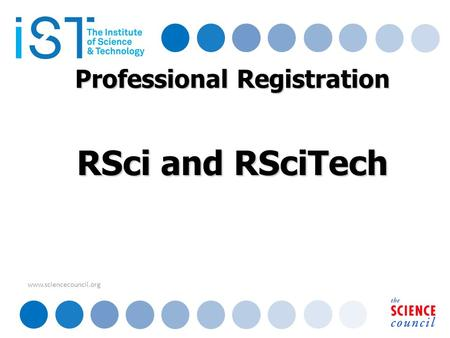 Www.sciencecouncil.org Professional Registration RSci and RSciTech.