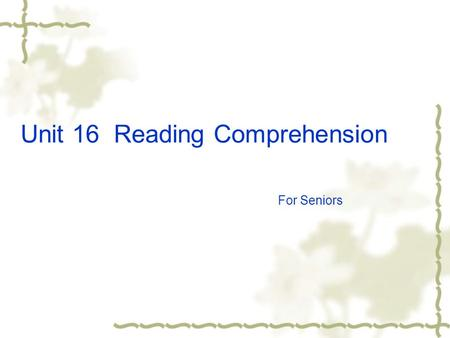 Unit 16 Reading Comprehension For Seniors barber receptionist chef accountant.
