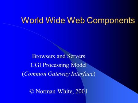 World Wide Web Components Browsers and Servers CGI Processing Model (Common Gateway Interface) © Norman White, 2001.