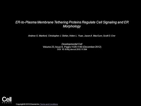 ER-to-Plasma Membrane Tethering Proteins Regulate Cell Signaling and ER Morphology Andrew G. Manford, Christopher J. Stefan, Helen L. Yuan, Jason A. MacGurn,