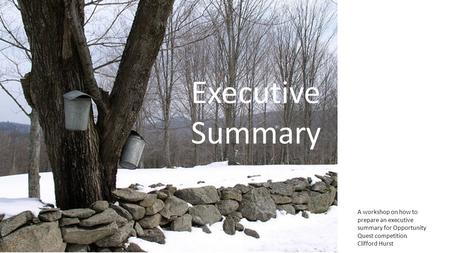 Executive Summary A workshop on how to prepare an executive summary for Opportunity Quest competition Clifford Hurst.