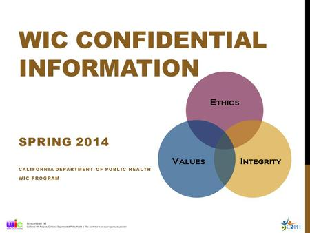WIC CONFIDENTIAL INFORMATION SPRING 2014 CALIFORNIA DEPARTMENT OF PUBLIC HEALTH WIC PROGRAM.