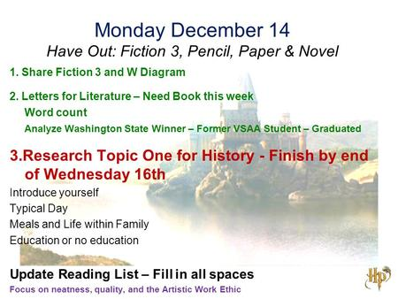 Monday December 14 Have Out: Fiction 3, Pencil, Paper & Novel 1. Share Fiction 3 and W Diagram 2. Letters for Literature – Need Book this week Word count.