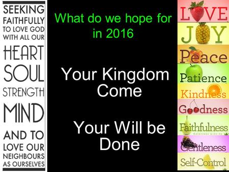 What do we hope for in 2016 Your Kingdom Come Your Will be Done.