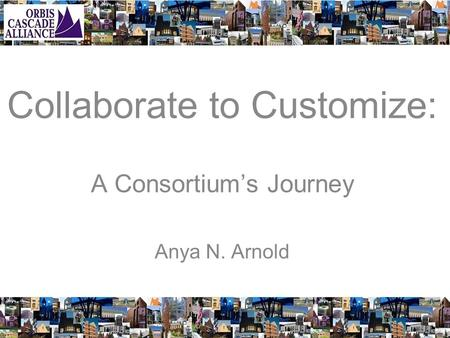 Collaborate to Customize: A Consortium's Journey Anya N. Arnold.