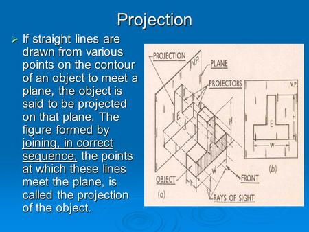 Projection  If straight lines are drawn from various points on the contour of an object to meet a plane, the object is said to be projected on that plane.