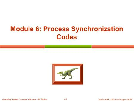 6.1 Silberschatz, Galvin and Gagne ©2009 Operating System Concepts with Java – 8 th Edition Module 6: Process Synchronization Codes.