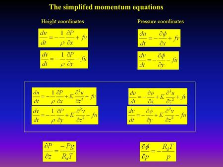 The simplifed momentum equations Height coordinatesPressure coordinates.