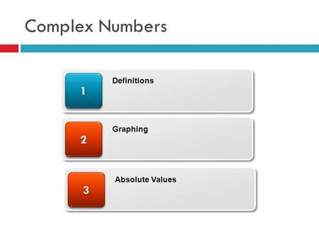 Complex Numbers 22 11 Definitions Graphing 33 Absolute Values.