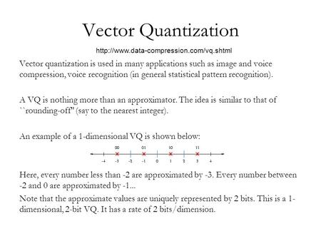 Vector Quantization Vector quantization is used in many applications such as image and voice compression, voice recognition (in general statistical pattern.