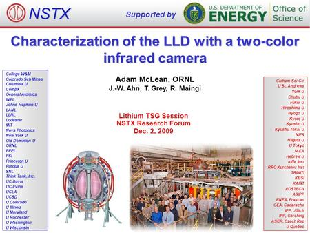 Characterization of the LLD with a two-color infrared camera Adam McLean, ORNL J.-W. Ahn, T. Grey, R. Maingi Lithium TSG Session NSTX Research Forum Dec.