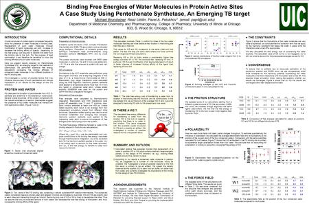 Binding Free Energies of Water Molecules in Protein Active Sites A Case Study Using Pentothenate Synthetase, An Emerging TB target Michael Brunsteiner,