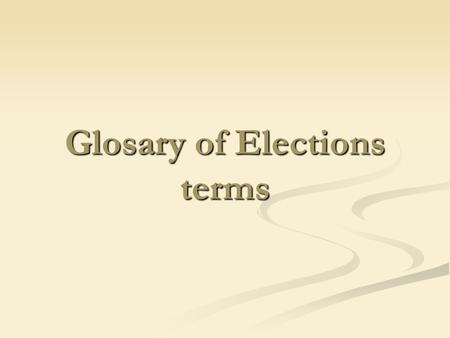 Glosary of Elections terms. The Parliamentary Monarchy The Constitution provides for separation between legislative, executive and judiciary and gives.