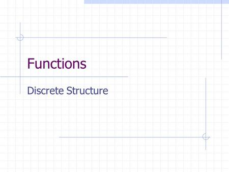 Functions Discrete Structure. L62 Functions. Basic-Terms. DEF: A function f : A  B is given by a domain set A, a codomain set B, and a rule which for.