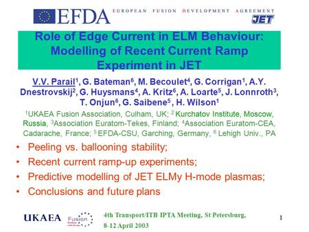 4th Transport/ITB IPTA Meeting, St Petersburg, 8-12 April 2003 1 Role of Edge Current in ELM Behaviour: Modelling of Recent Current Ramp Experiment in.