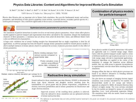 Physics Data Libraries: Content and Algorithms for Improved Monte Carlo Simulation Physics data libraries play an important role in Monte Carlo simulation: