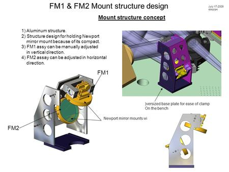 Mount structure concept FM1 & FM2 Mount structure design 1) Aluminum structure. 2) Structure design for holding Newport mirror mount because of its compact.