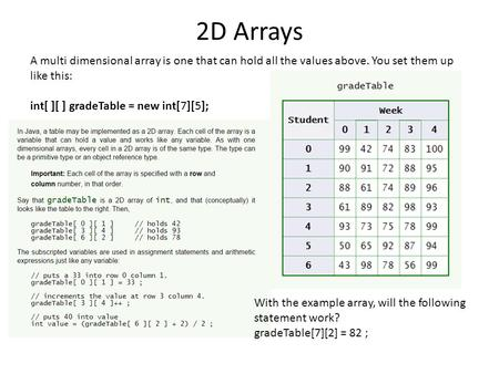 2D Arrays A multi dimensional array is one that can hold all the values above. You set them up like this: int[ ][ ] gradeTable = new int[7][5]; With the.