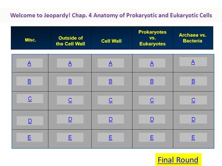 Welcome to Jeopardy! Chap. 4 Anatomy of Prokaryotic and Eukaryotic Cells A B C E AAA A BBBB CCCC DDDD EEEE Misc. Outside of the Cell Wall Cell Wall Prokaryotes.