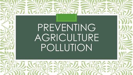 PREVENTING AGRICULTURE POLLUTION. Essential Question: What measures can be taken to prevent agriculture pollution? Objectives: 1. Identify sources of.