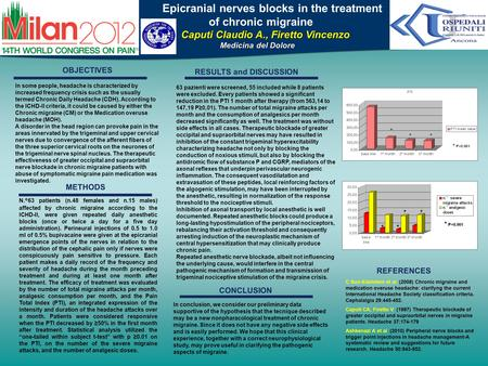 Poster Title Epicranial nerves blocks in the treatment of chronic migraine Caputi Claudio A., Firetto Vincenzo Caputi Claudio A., Firetto Vincenzo Medicina.