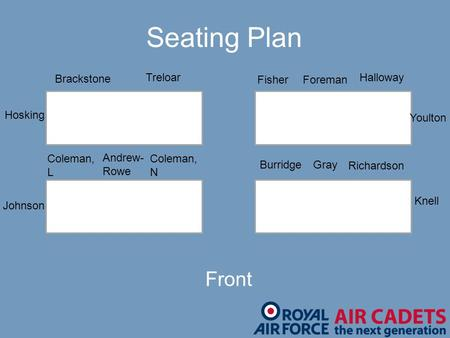 Andrew- Rowe Brackstone Burridge Coleman, L Coleman, N FisherForeman Gray Halloway Hosking Johnson Knell Richardson Treloar Youlton Front Seating Plan.