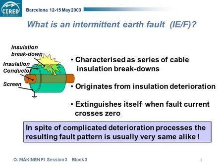 O. MÄKINEN FI Session 3 Block 3 Barcelona 12-15 May 2003 1 What is an intermittent earth fault (IE/F)? Insulation Conductor Screen Insulation break-down.