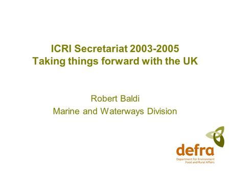 ICRI Secretariat 2003-2005 Taking things forward with the UK Robert Baldi Marine and Waterways Division.