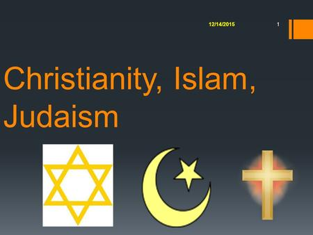 Christianity, Islam, Judaism 12/14/2015 1. 2 Islam TheismStrict monotheism Ultimate RealityOne God Name of GodAllah (arabic for god) ClergyImams Other.