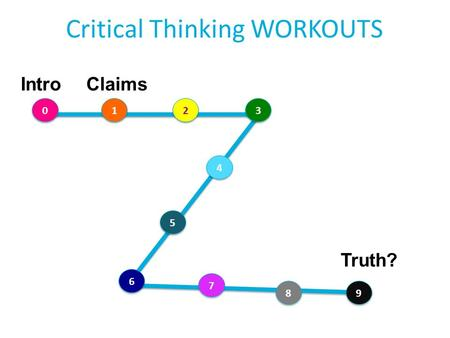 Critical Thinking WORKOUTS IntroClaims 0 0 1 1 2 2 Truth? 3 3 4 4 5 5 6 6 7 7 8 8 9 9.