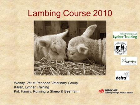 Lambing Course 2010 Wendy, Vet at Penbode Veterinary Group Karen, Lynher Training Kirk Family, Running a Sheep & Beef farm.
