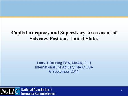 1 Larry J. Bruning FSA, MAAA, CLU International Life Actuary, NAIC USA 6 September 2011 Capital Adequacy and Supervisory Assessment of Solvency Positions.