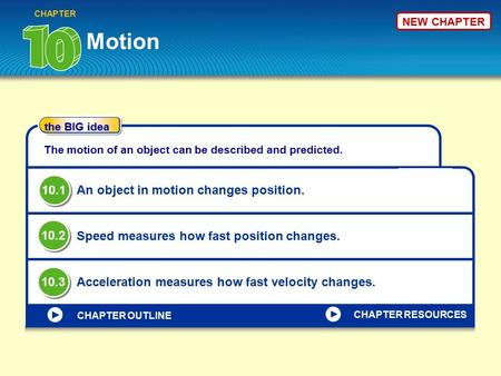 The BIG idea CHAPTER OUTLINE NEW CHAPTER Motion CHAPTER The motion of an object can be described and predicted. An object in motion changes position. Speed.