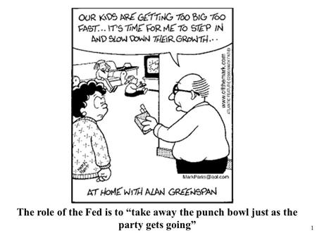 "1 The role of the Fed is to ""take away the punch bowl just as the party gets going"""
